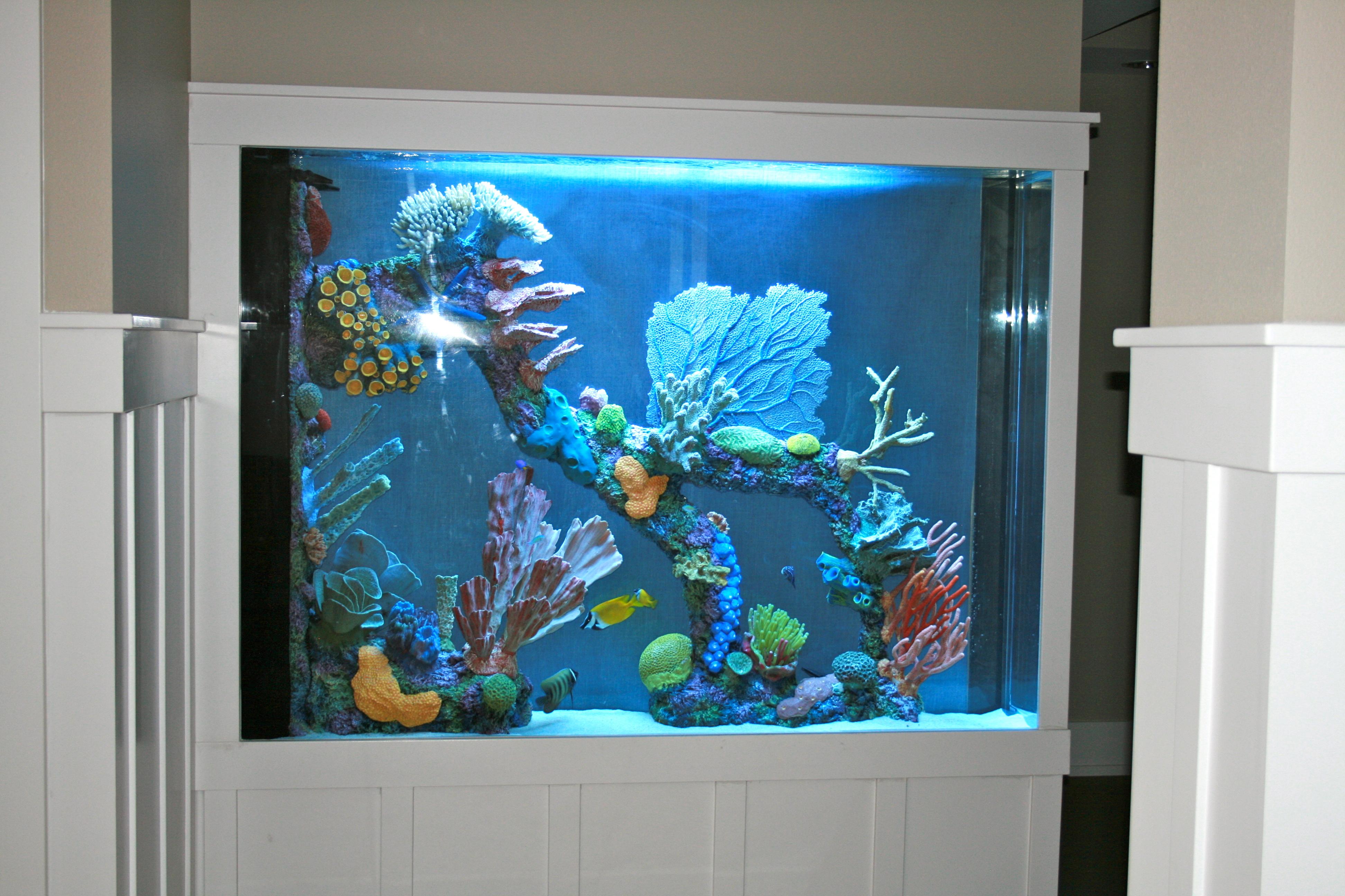gallon marine aquarium room divider  faux reef aquarium maintenance las vegas